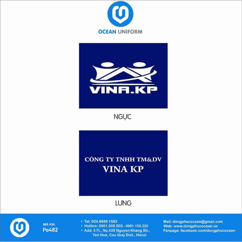 Hoạ tiết áo khoác gió 2 lớp đồng phục công ty VINA KP