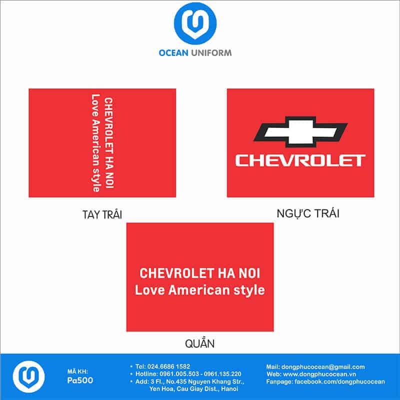 Hoạ tiết áo khoác gió đồng phục đại lí xe Chevrolet Hà Nội