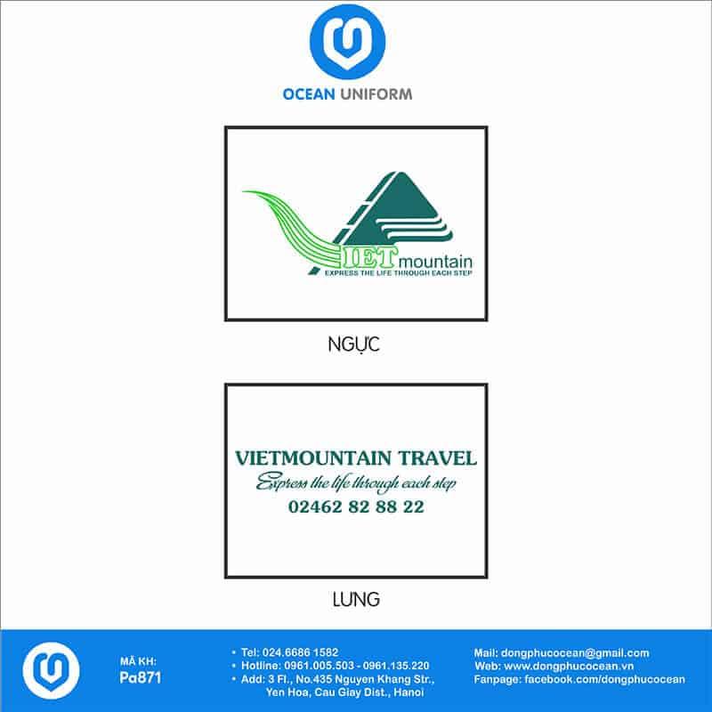 Hoạ tiết áo khoác gió đồng phục Vietmountain Travel