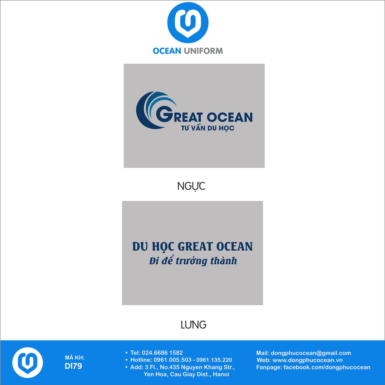 Họa tiết áo khoác nỉ đồng phục trung tâm Great Ocean