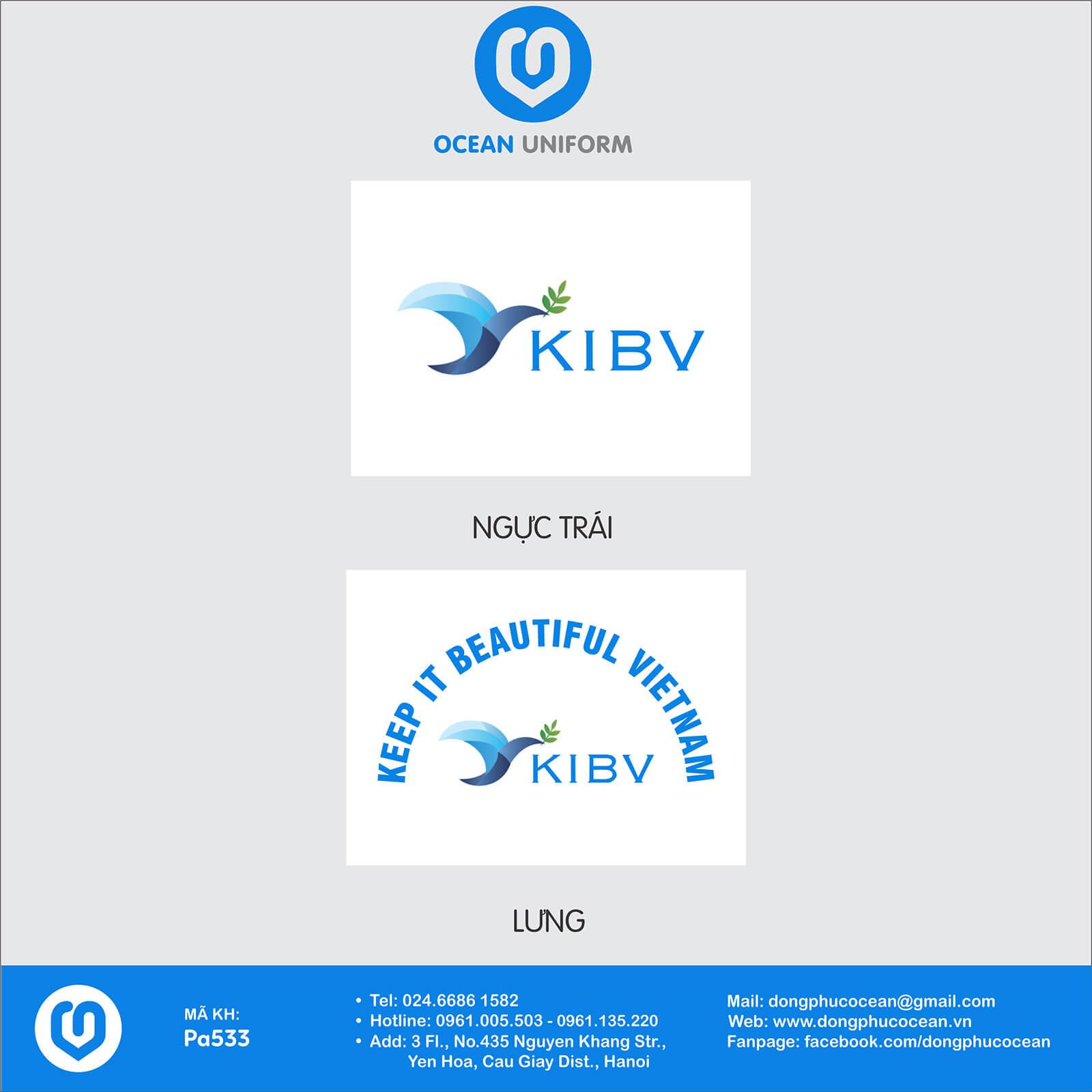 Họa tiết áo khoác gió đồng phục Tổ chức phi chính phủ KIBV Việt Nam