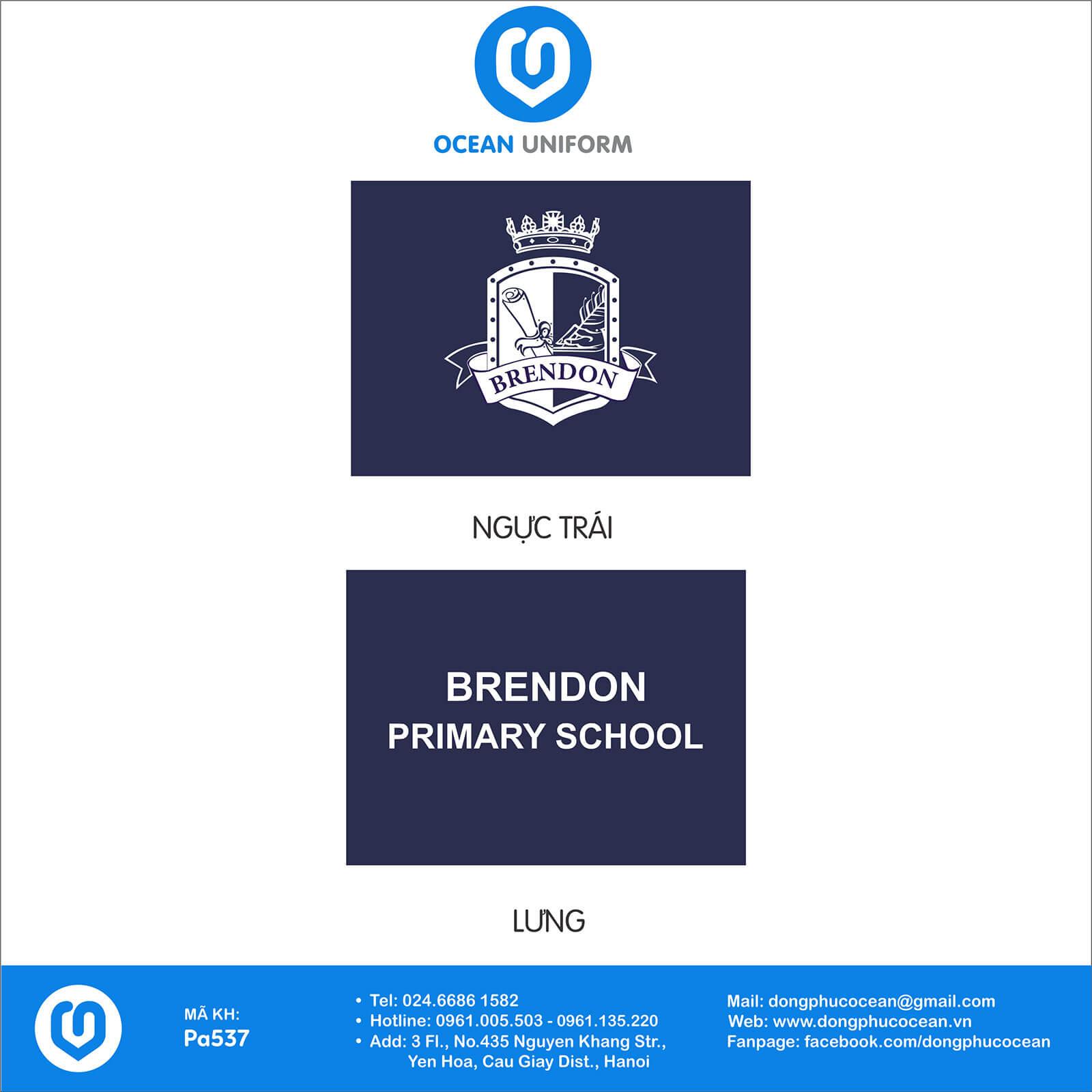 Họa tiết áo khoác gió đồng phục Trường tiểu học Brendon