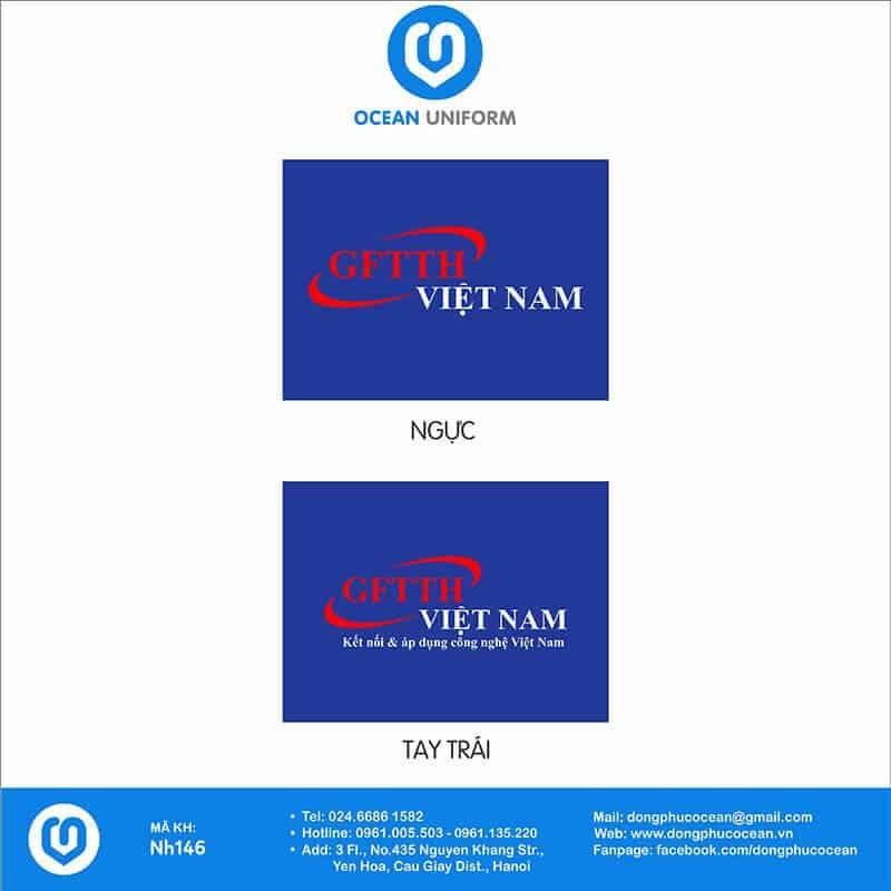 Hoạ tiết áo khoác gió 3 lớp đồng phục GFTTH Việt Nam
