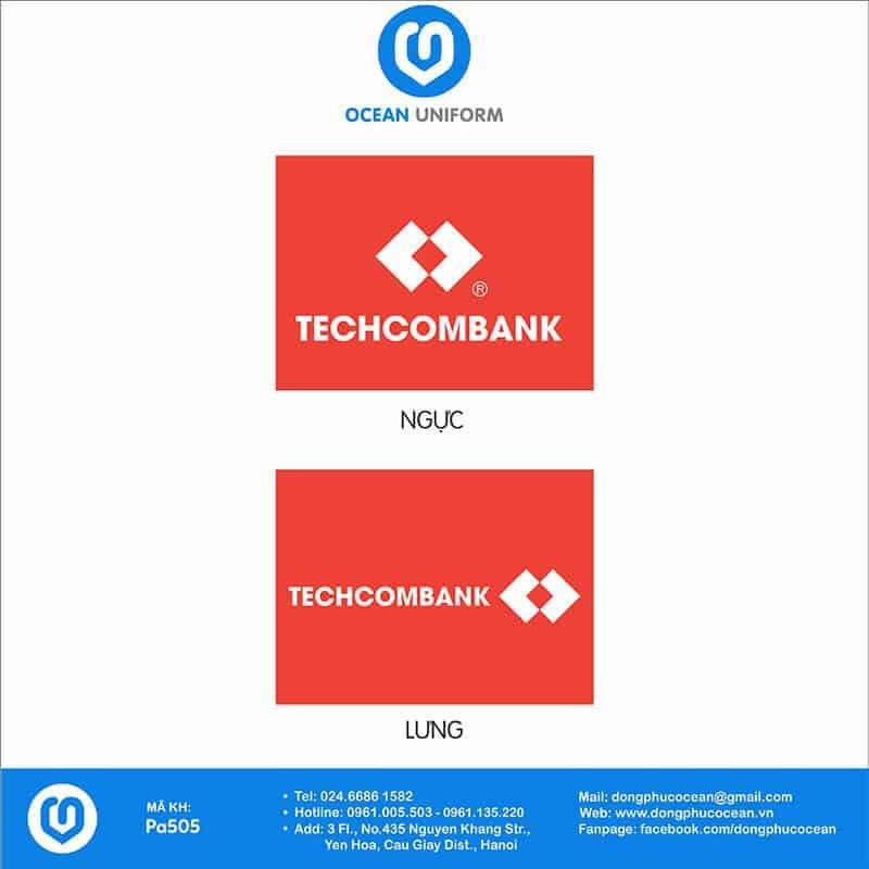 Hoạ tiết áo khoác gió 3 lớp đồng phục Ngân Hàng Techcombank