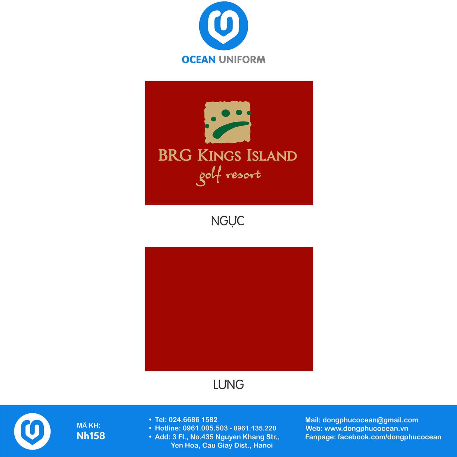 Họa tiết áo khoác gió 3 lớp đồng phục Sân gôn BRG Kings Island Golf Resort