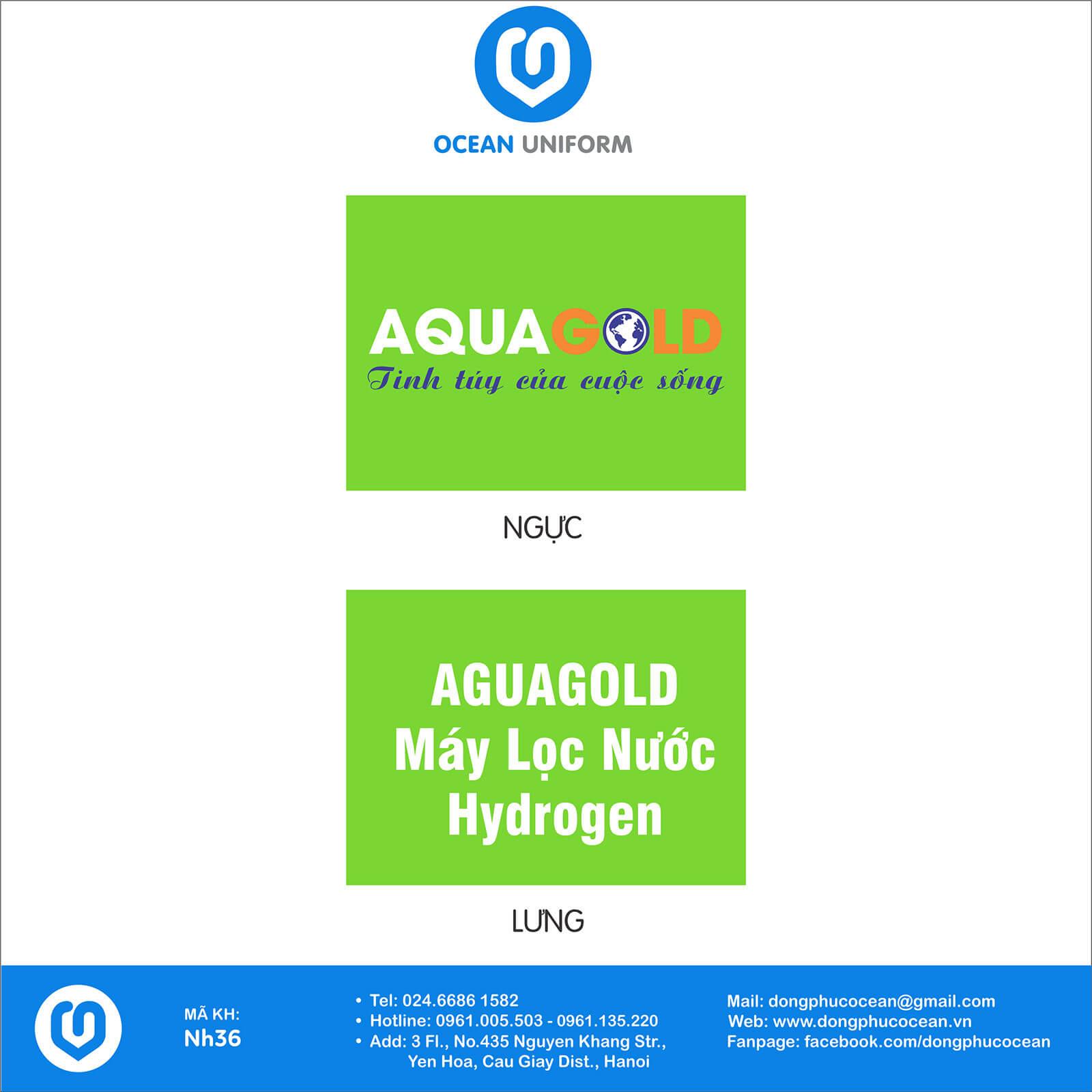 Họa tiết áo đồng phục công ty Máy lọc nước Aqua Gold