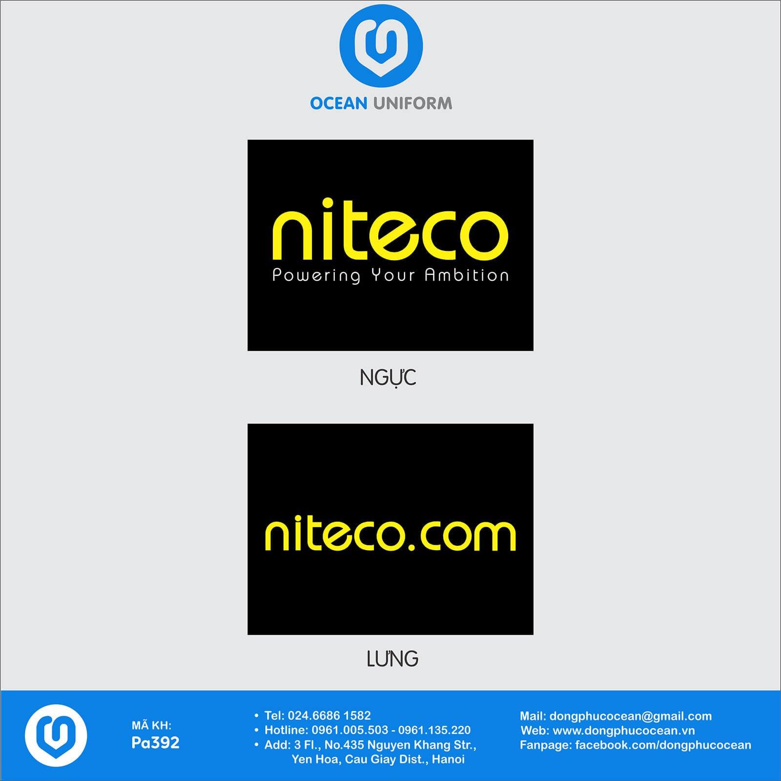 Họa tiết áo đồng phục nhân viên Công ty NITECO Việt Nam