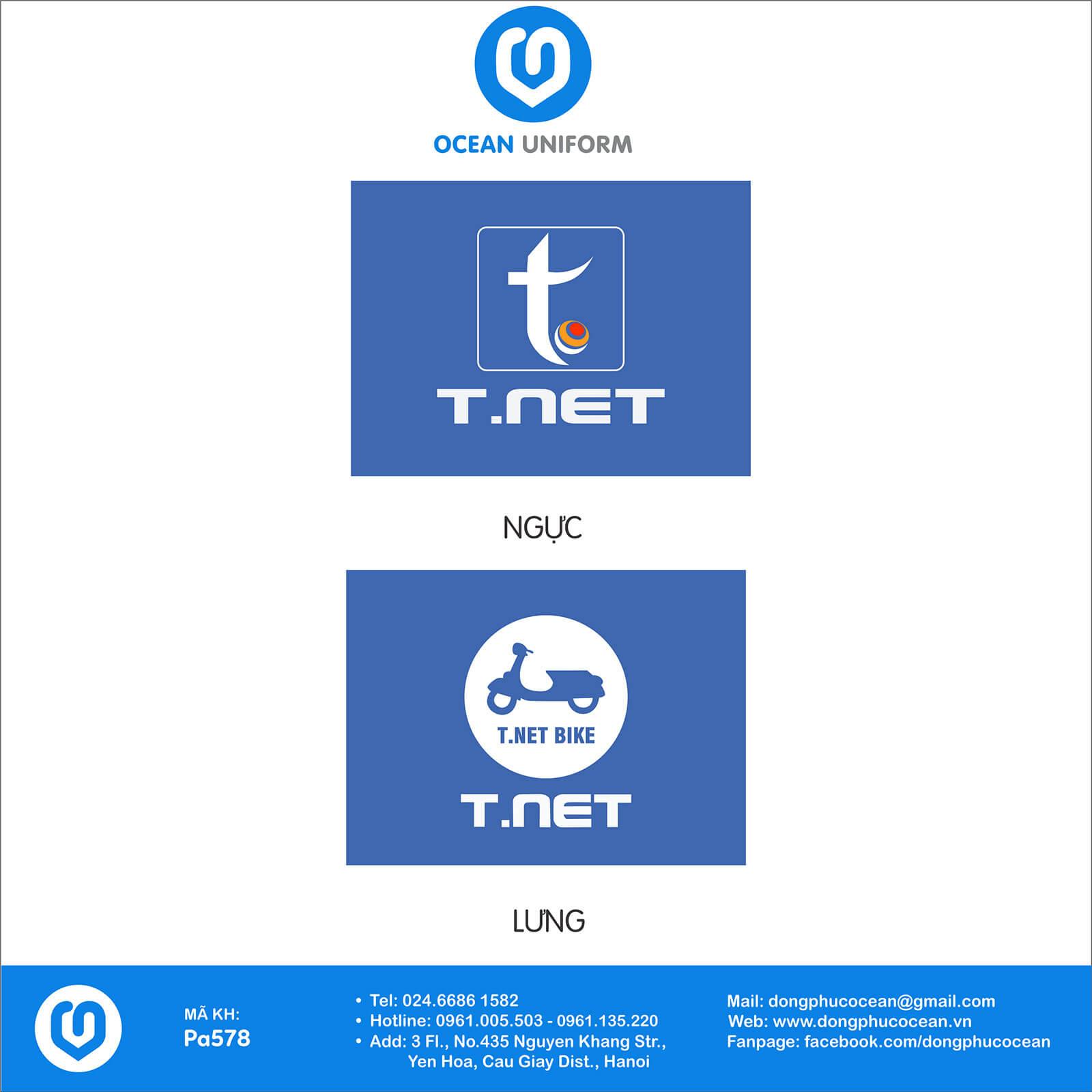 Họa tiết áo đồng phục văn phòng công ty T.NET Việt Nam
