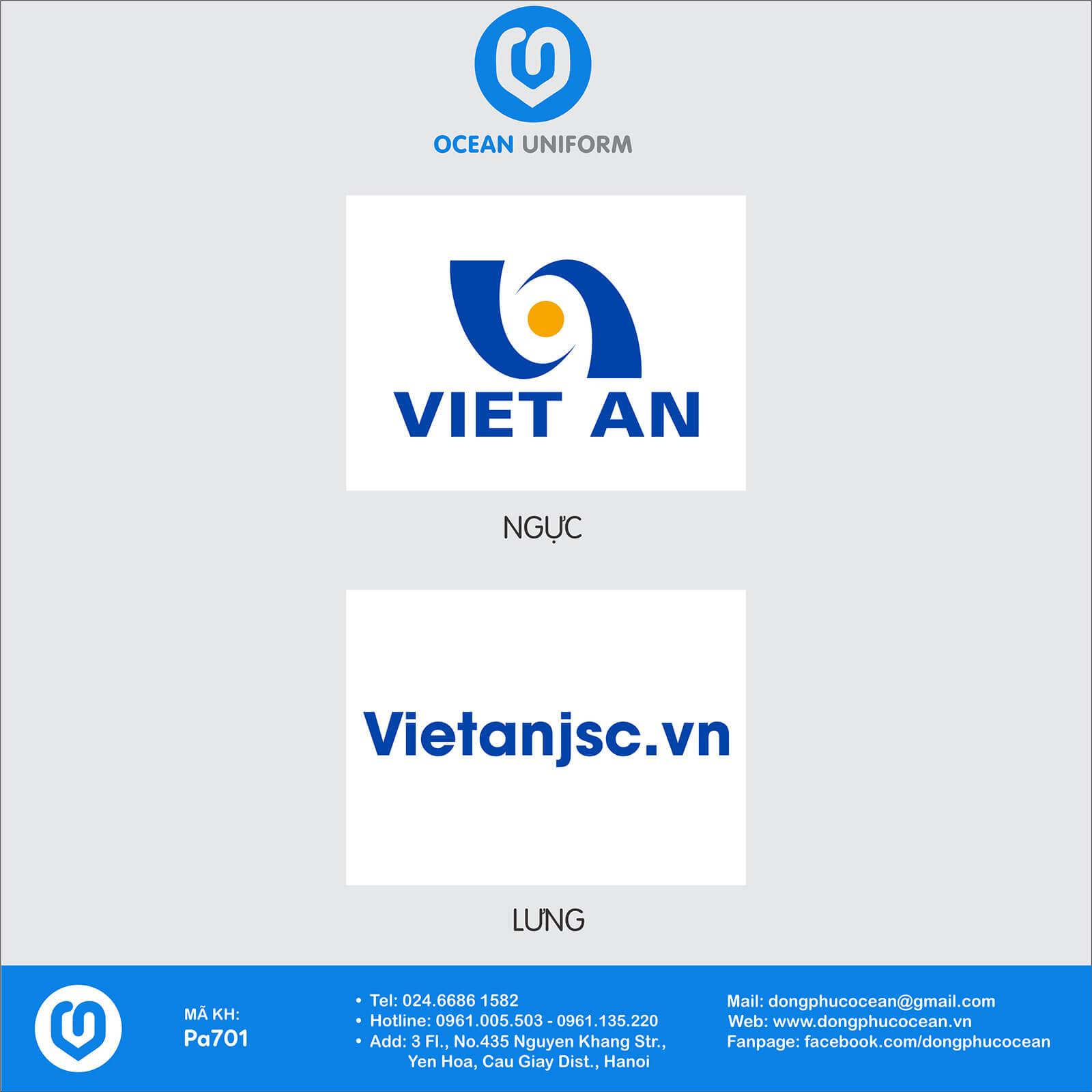 Họa tiết áo đồng phục công ty Việt An