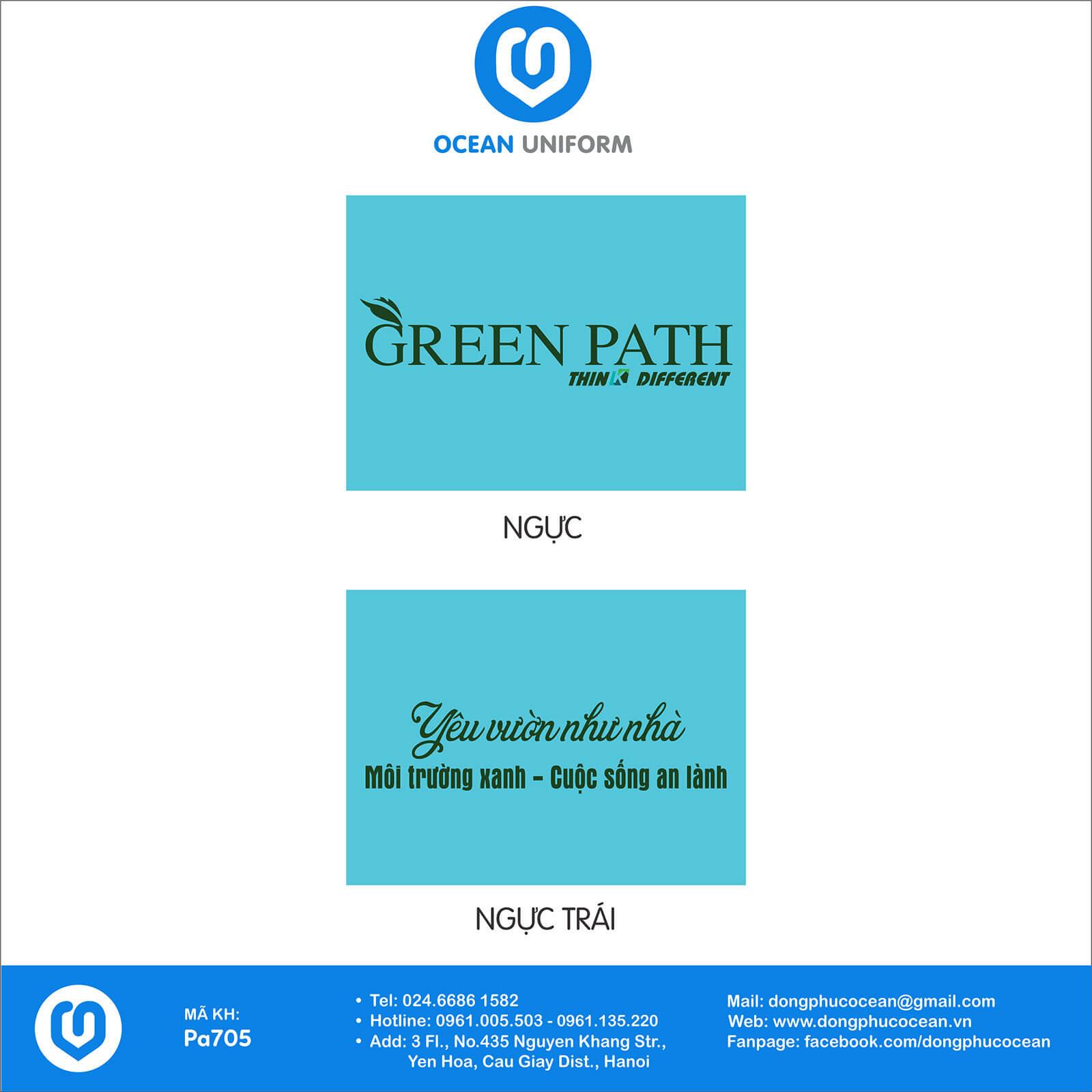 Họa tiết áo đồng phục Công ty Cổ Phần Green Path