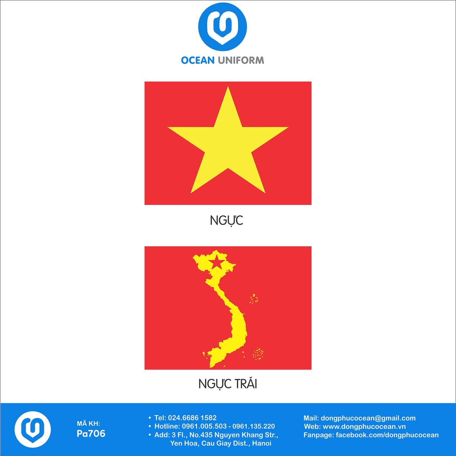 Họa tiết áo cờ đỏ sao vàng hình bản đồ sau lưng