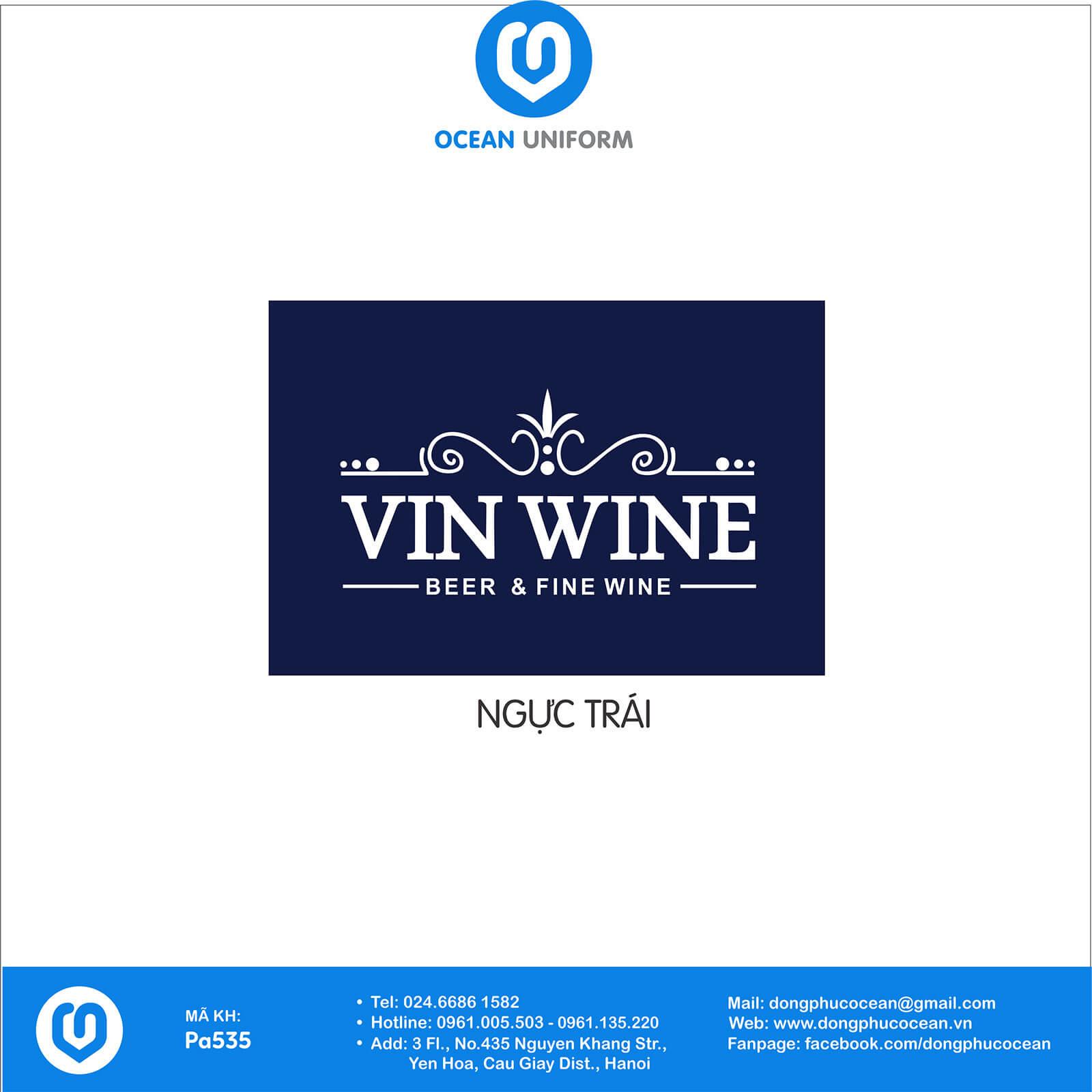 Họa tiết áo vest đồng phục lễ tân cửa hàng rượu Vin Wine