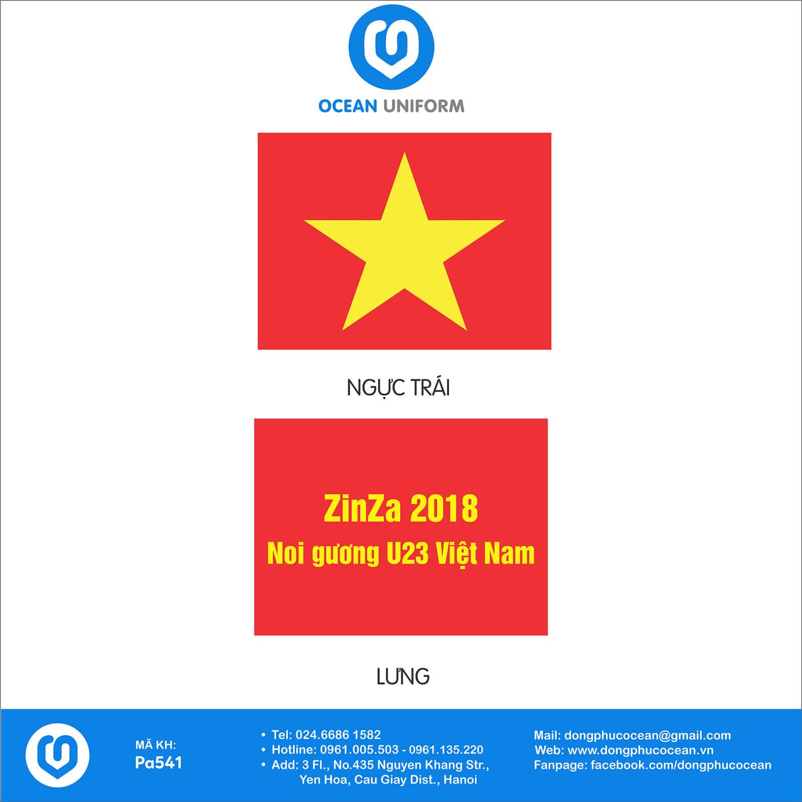 Họa tiết áo cờ đỏ sao vàng ZinZa 2018