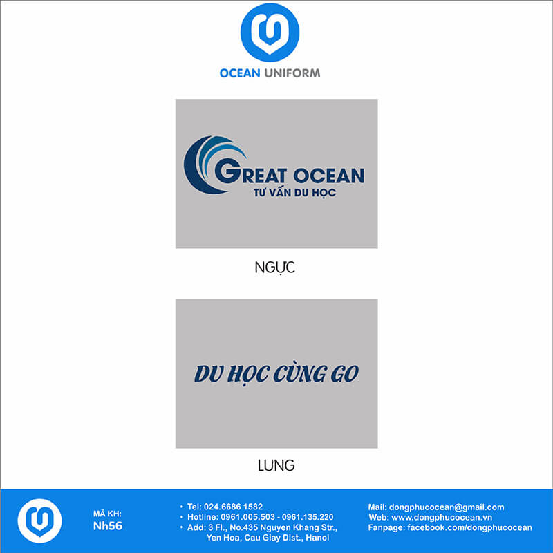 Hoạ tiết áo đồng phục công ty Tư vấn du học Creat Ocean