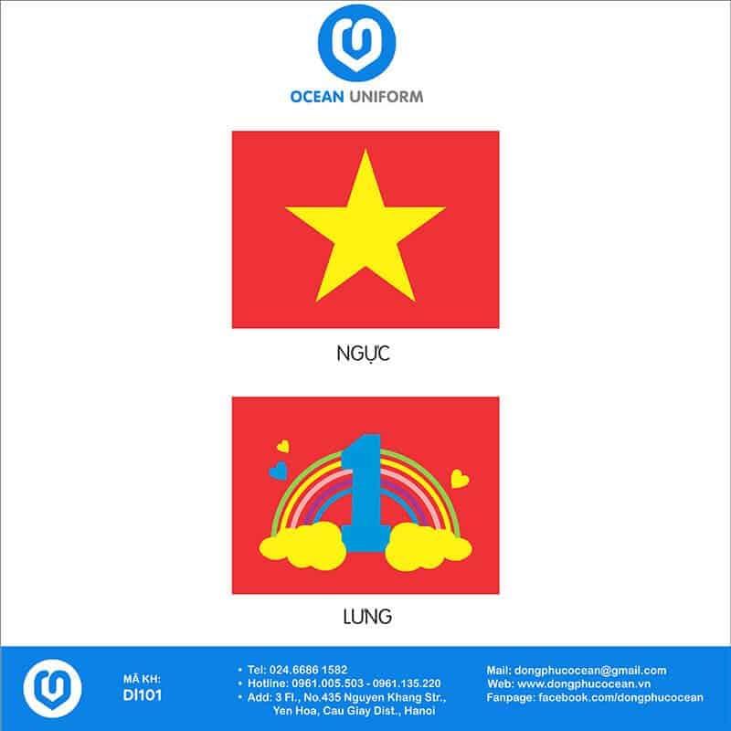 Hoạ tiết áo cờ đỏ sao vàng trường Mầm non 1