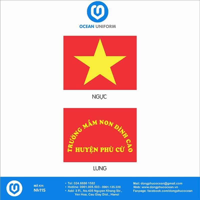 Hoạ tiết áo thun cờ đỏ sao vàng trường Mầm non Đình Cao