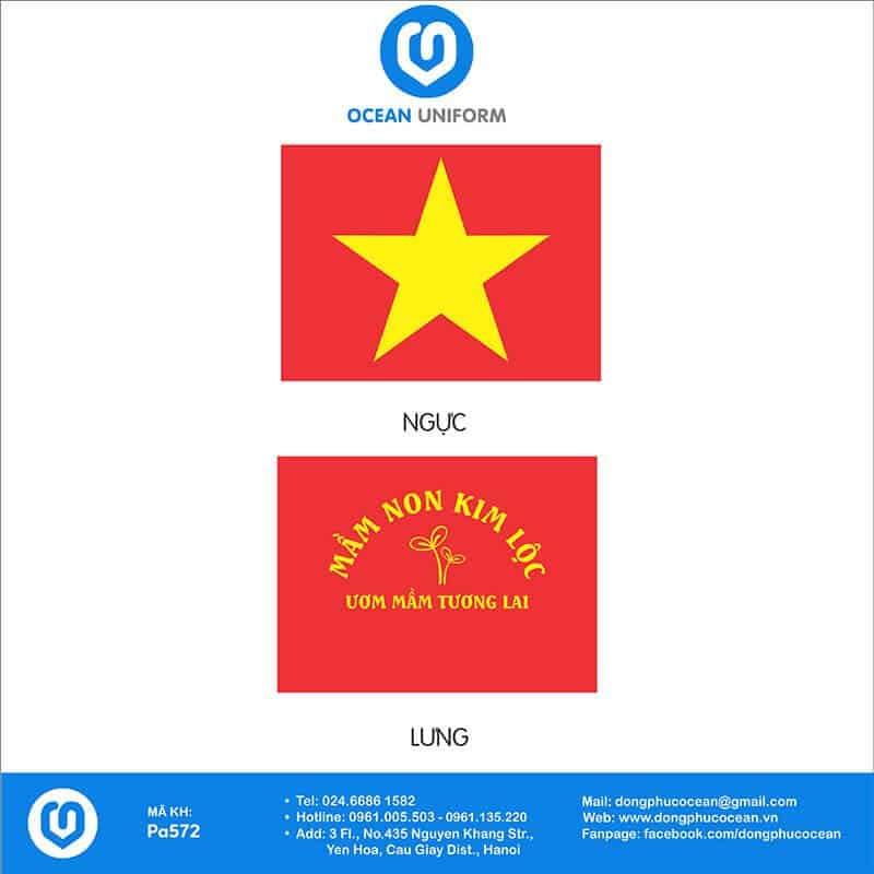 Hoạ tiết áo cờ đỏ sao vàng trường Mầm non Kim Lộc