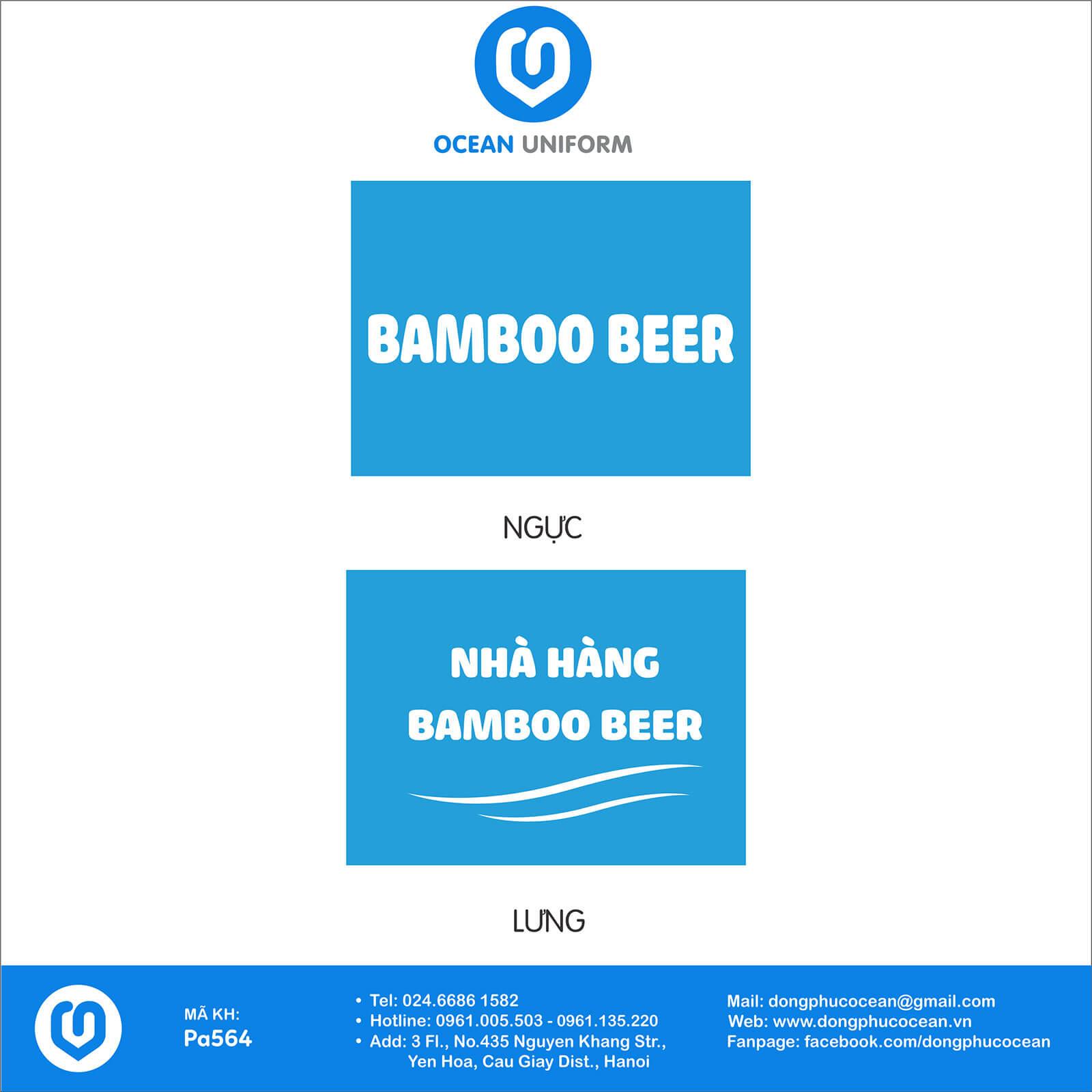 Họa tiết áo đồng phục nhân viên nhà hàng BAMBOO Beer
