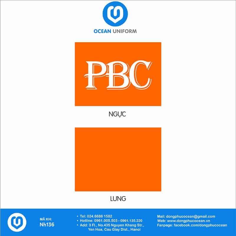 Họa tiết áo thun đồng phục Công ty PBC
