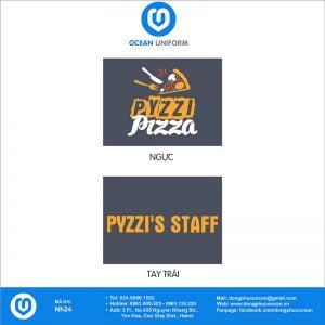 Họa tiết áo thun đồng phục nhà hàng Pyzzi Pizza