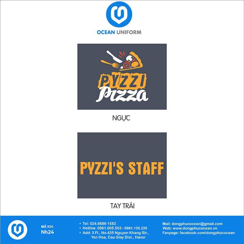 Họa tiết áo đồng phục nhân viên Nhà hàng Pyzzi Pizza