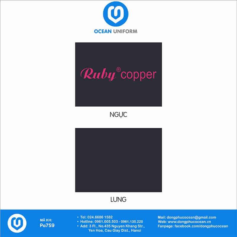 Họa tiết Áo đồng phục công ty Ruby Copper