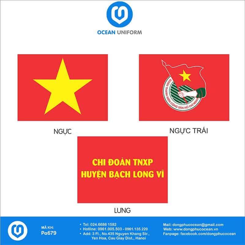Hoạ tiết áo cờ đỏ sao vàng Chi Đoàn TNXP huyện Bạch Long Vĩ
