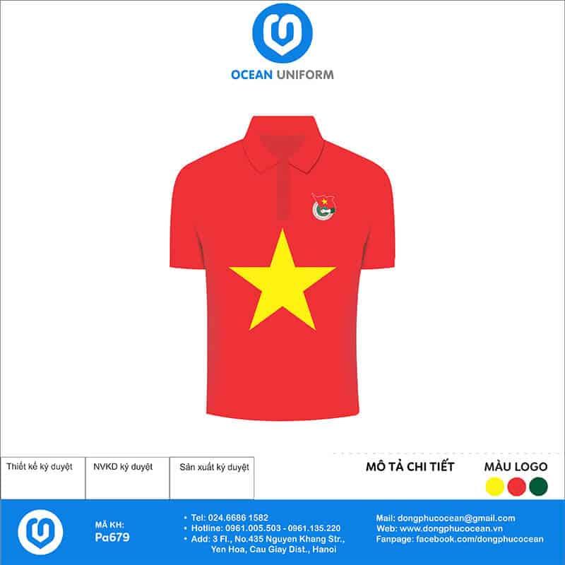 Áo cờ đỏ sao vàng Chi Đoàn TNXP huyện Bạch Long Vĩ mặt trước