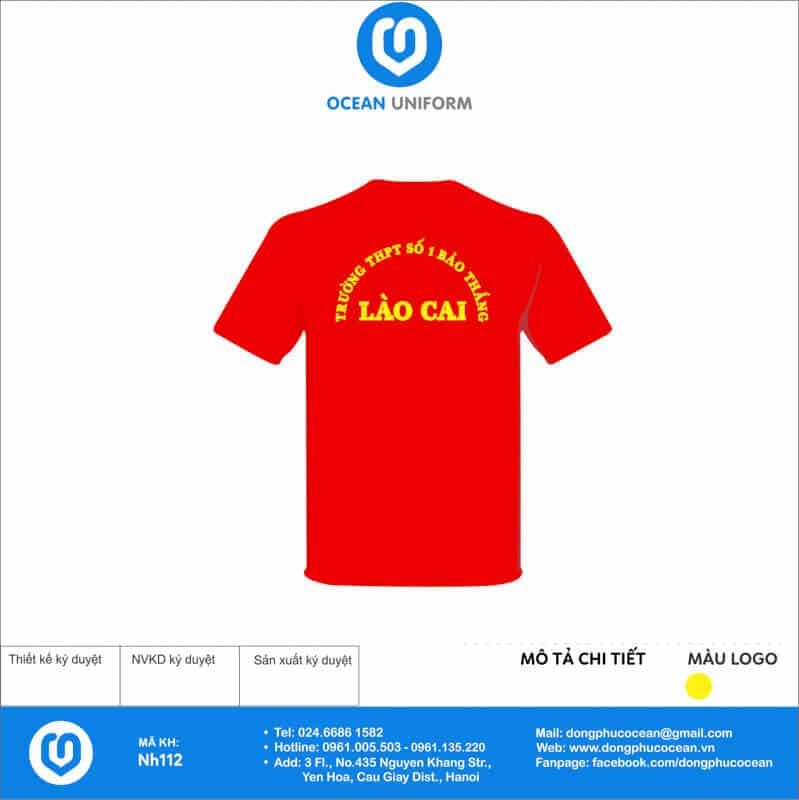 Áo cờ đỏ sao vàng Trường THPT tại Lào Cai mặt sau