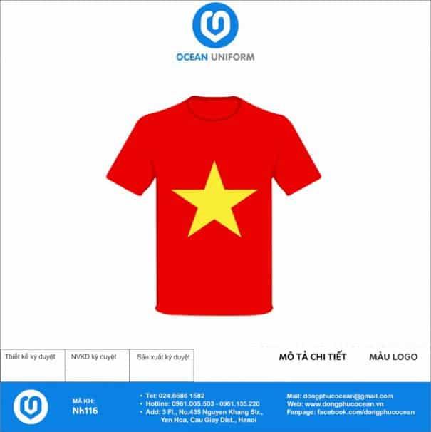 Áo cờ đỏ sao vàng Công ty MITEC mặt trước