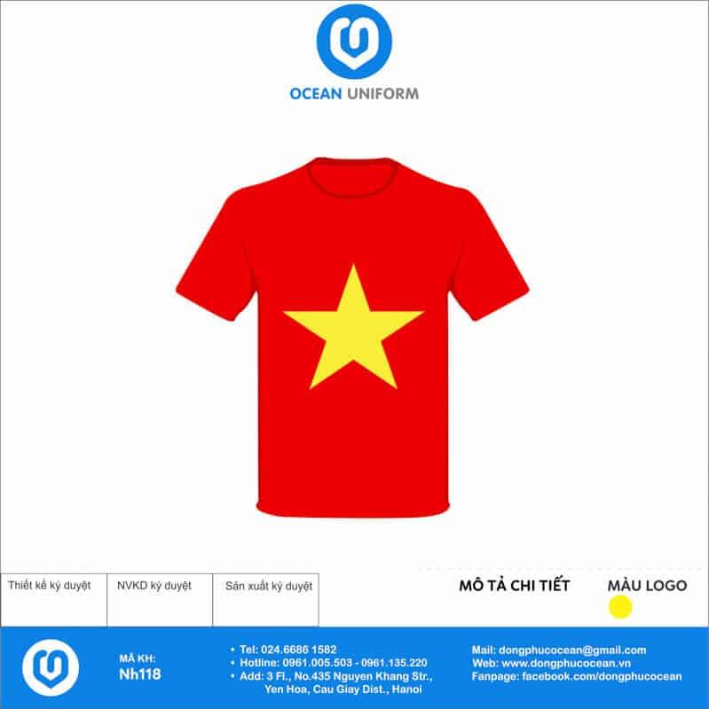 Áo cờ đỏ sao vàng Trường Tiểu học Tứ Hiệp mặt trước