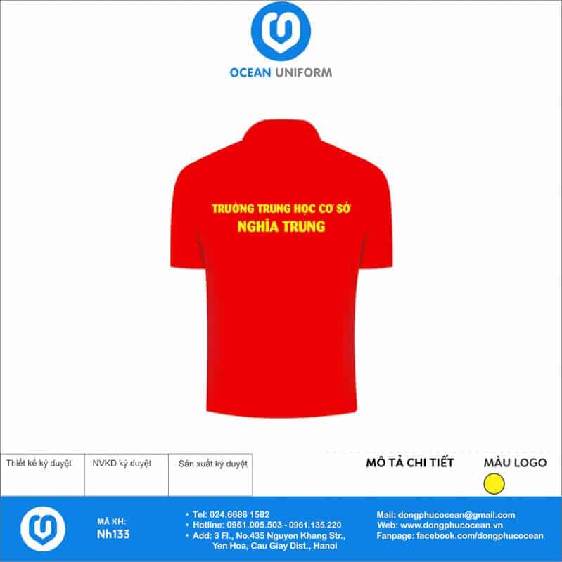 Áo cờ đỏ sao vàng Trường THCS Nghĩa Trung mặt sau