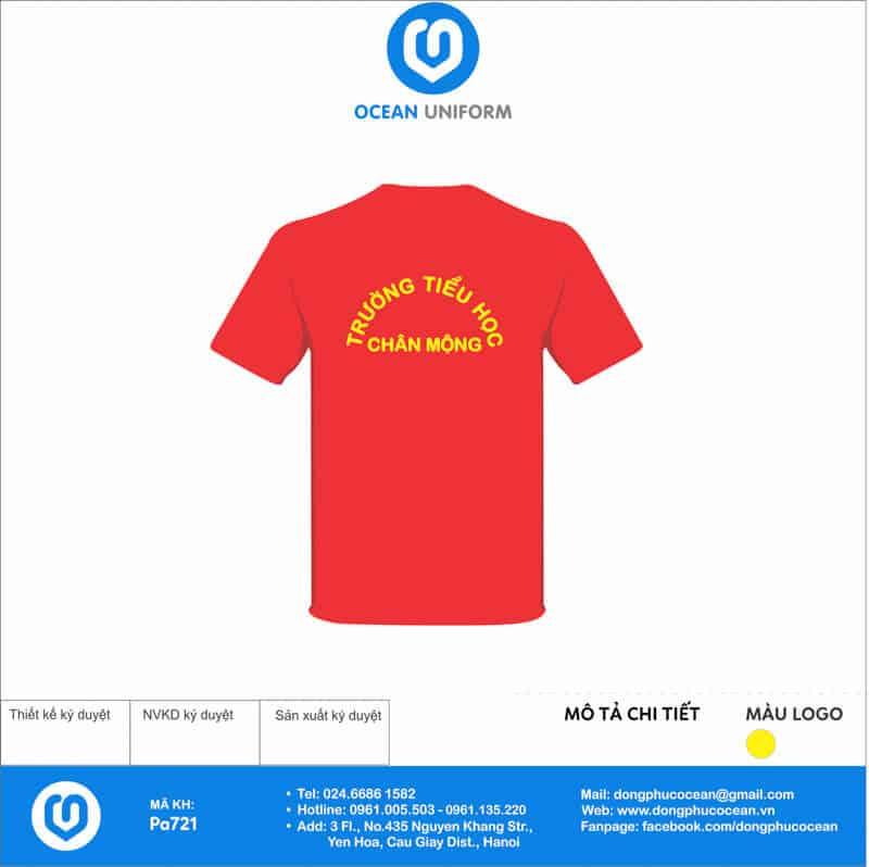 Áo cờ đỏ sao vàng trường tiểu học Chân Mộng mặt sau