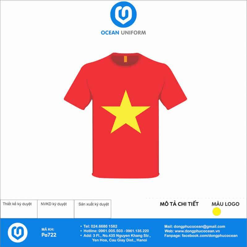 Áo cờ đỏ sao vàng Trường Tiểu học Minh Phú mặt trước