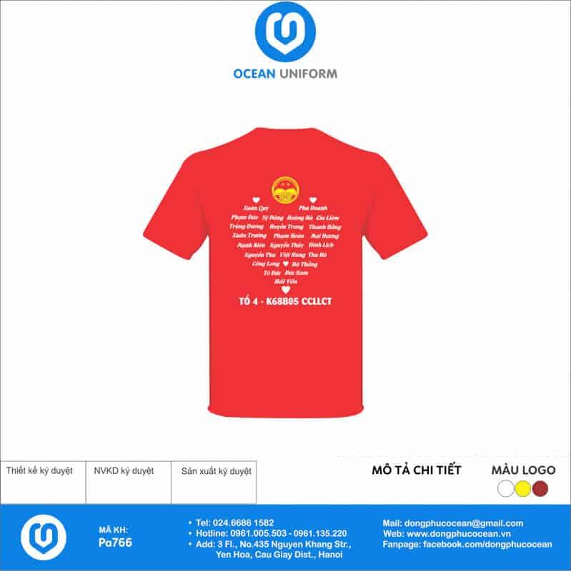 Áo cờ đỏ sao vàng Tổ 4 K68B05 mặt sau