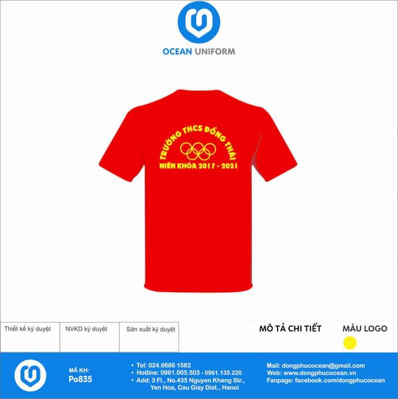 Áo cờ đỏ sao vàng Trường THCS Đồng Thái mặt sau