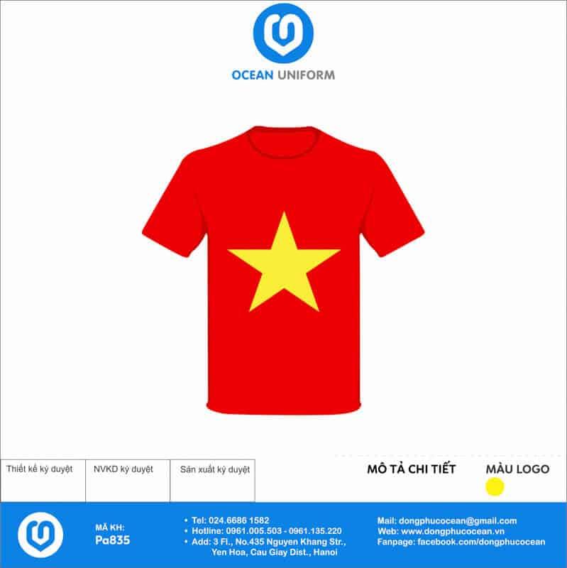 Áo cờ đỏ sao vàng Trường THCS Đồng Thái mặt trước