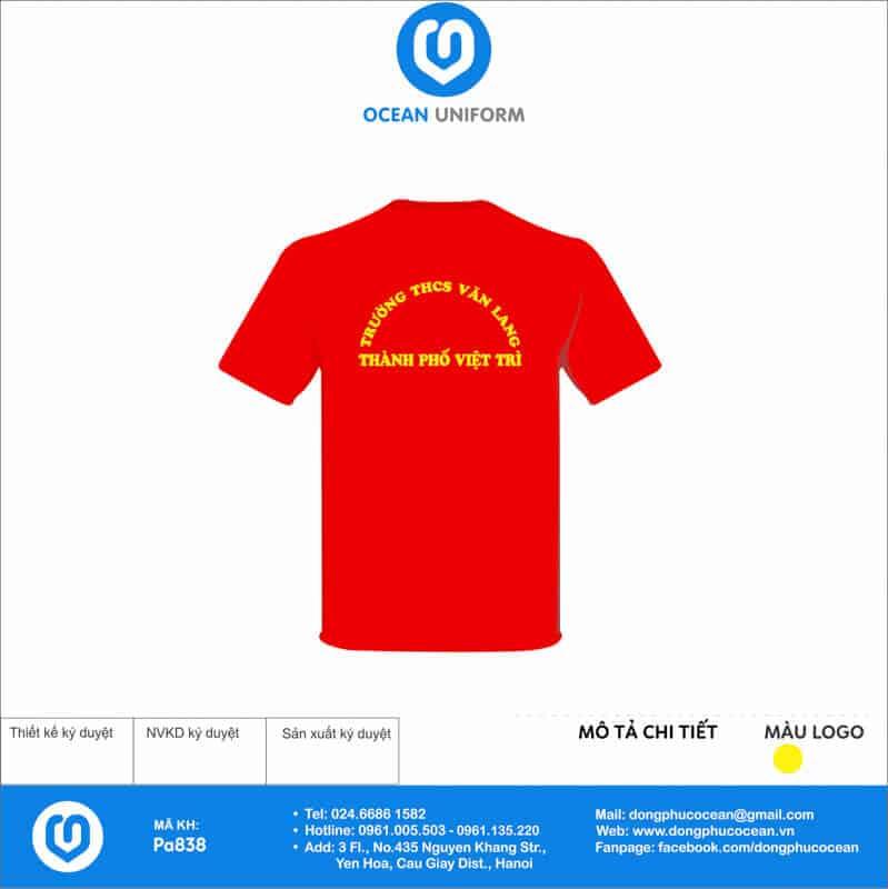 Áo cờ đỏ sao vàng Trường THCS Văn Lang mặt sau