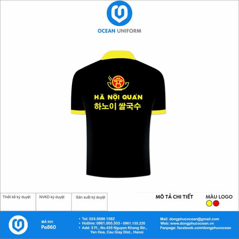 Áo đồng phục nhân viên nhà hàng Hà Nội Quán Việt Nam - Hàn Quốc mặt sau