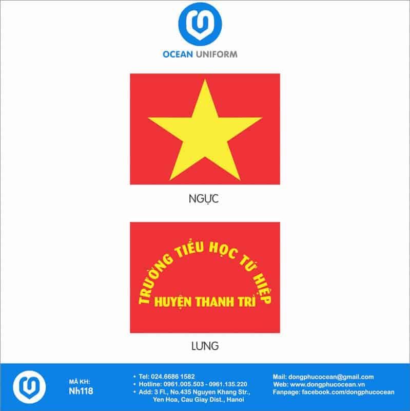 Họa tiết áo cờ đỏ sao vàng Trường Tiểu học Tứ Hiệp