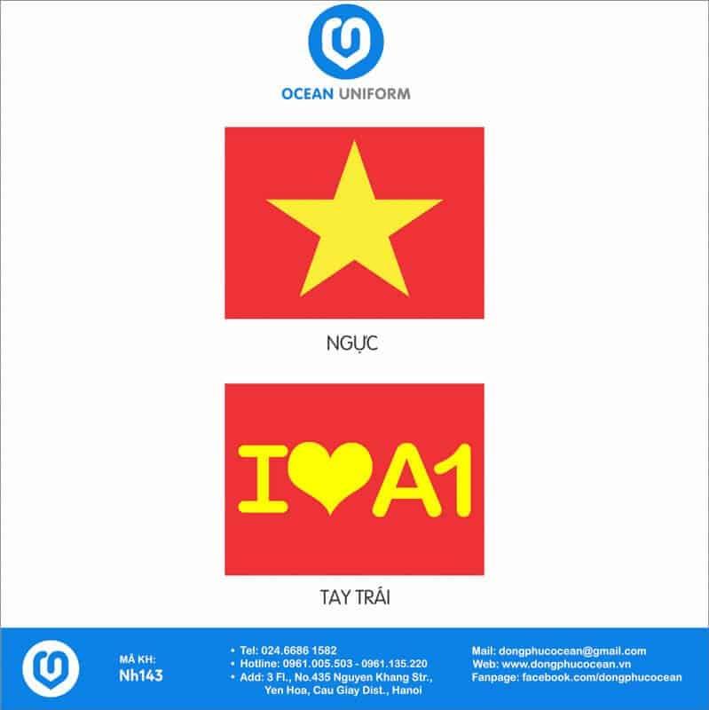 Họa tiết áo cờ đỏ sao vàng lớp A1