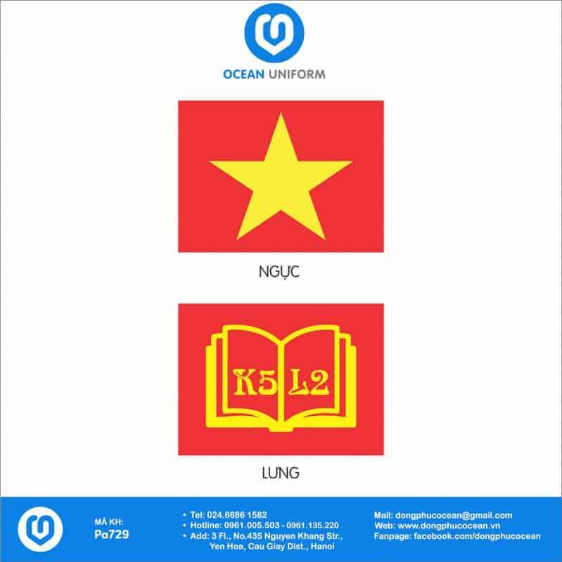 Họa tiết áo cờ đỏ sao vàng Lớp K5 L2