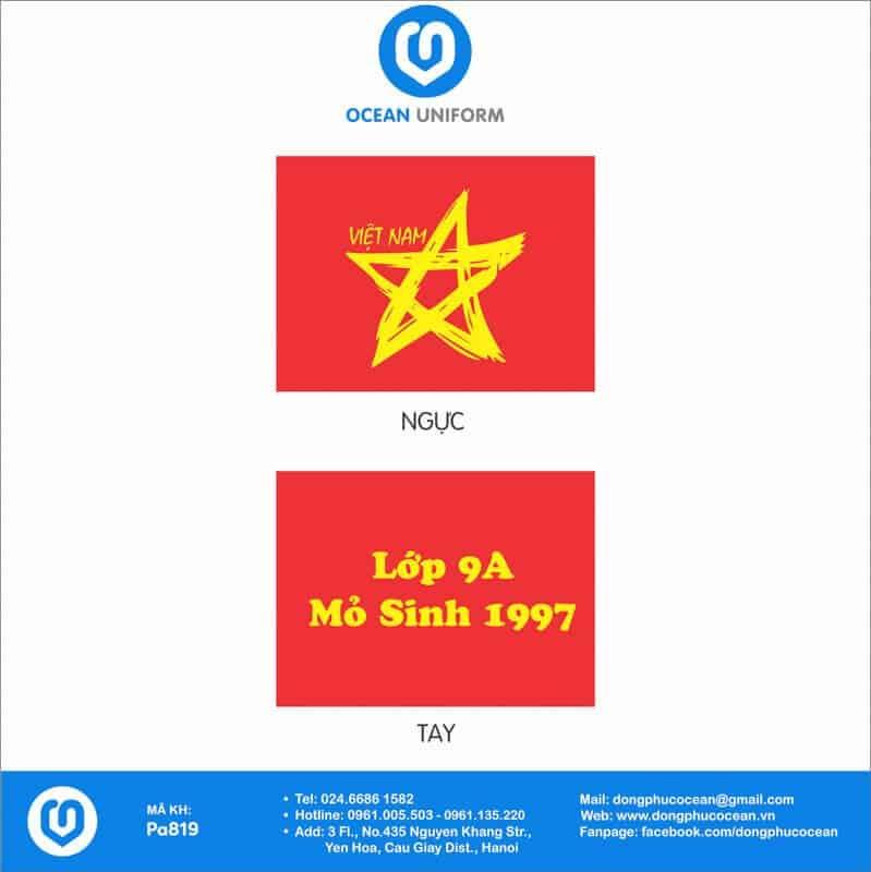Họa tiết áo thun cờ đỏ sao vàng Lớp 9A Mỏ Sinh 1997