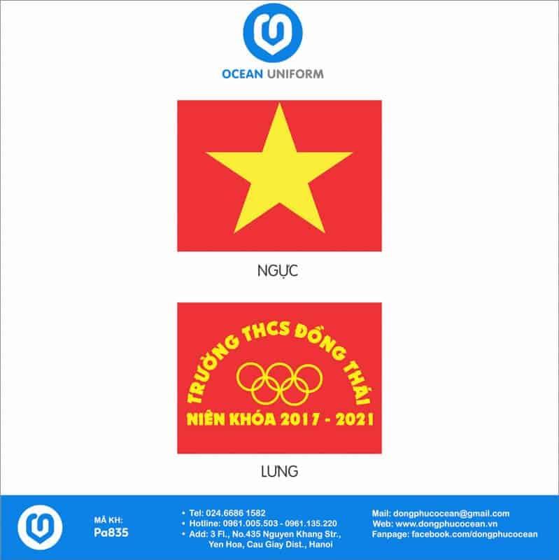 Họa tiết áo thun cờ đỏ sao vàng Trường THCS Đồng Thái