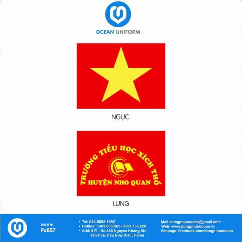 Họa tiết áo cờ đỏ sao vàng Trường Tiểu học Xích Thổ