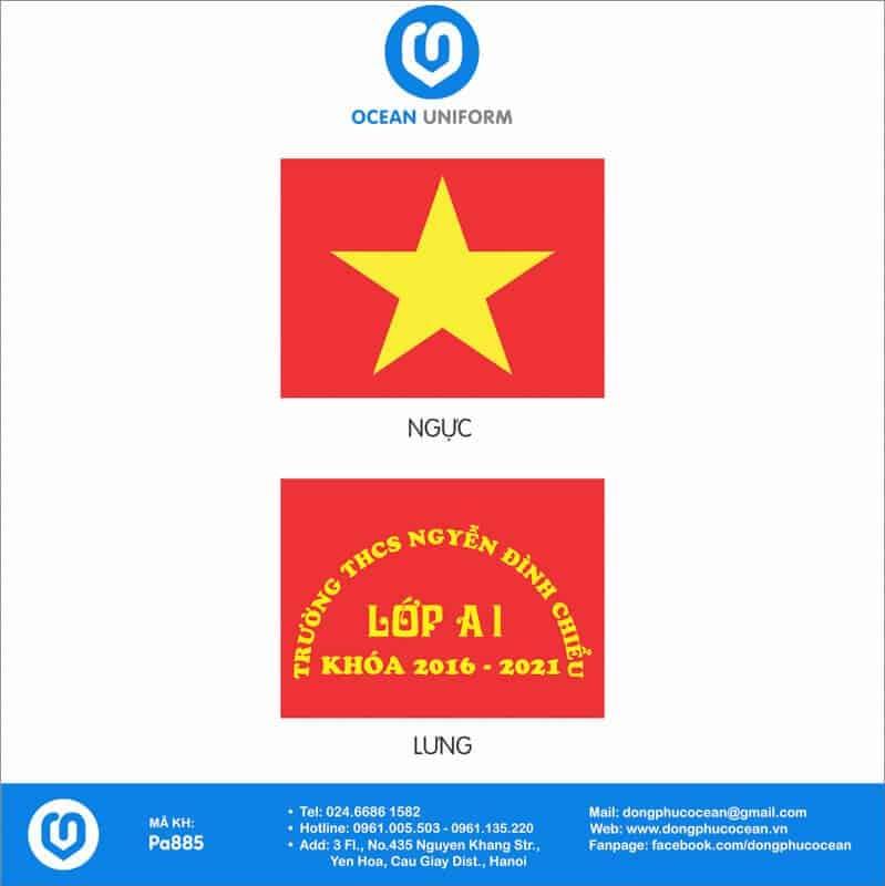 Họa tiết áo cờ đỏ sao vàng Trường THPT Nguyễn Đình Chiểu
