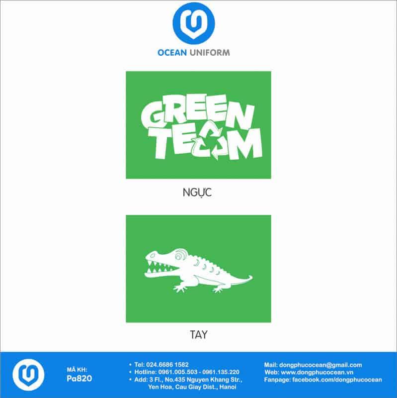 Họa tiết áo nhóm Green Team