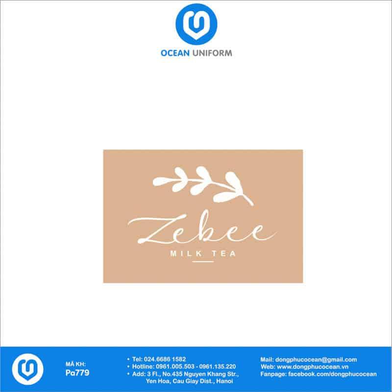 Họa tiết tạp dề đồng phục Zebee milk tea