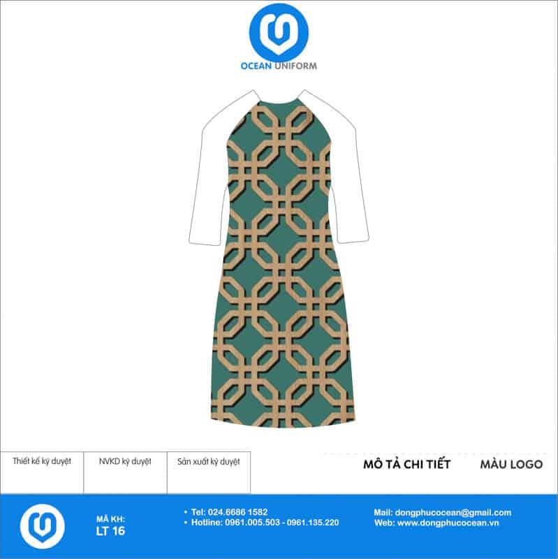 Áo dài đồng phục lễ tân họa tiết xanh