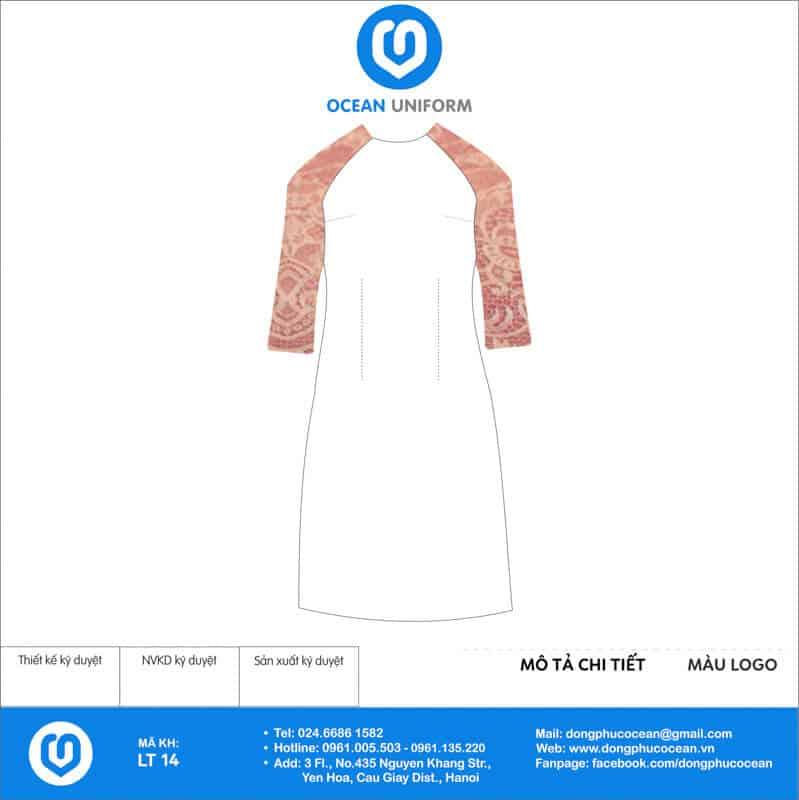 Áo dài đồng phục lễ tân màu trắng cách tân phối tay